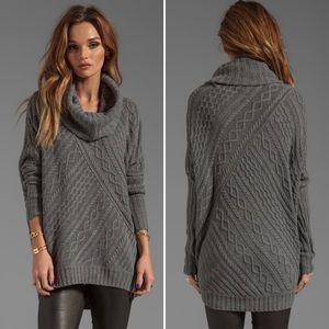 BCBGMAXAZRIA Linden Cowl Neck Cable Sweater Dress